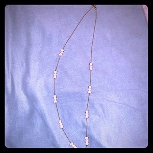 Kate Spade white bow long necklace